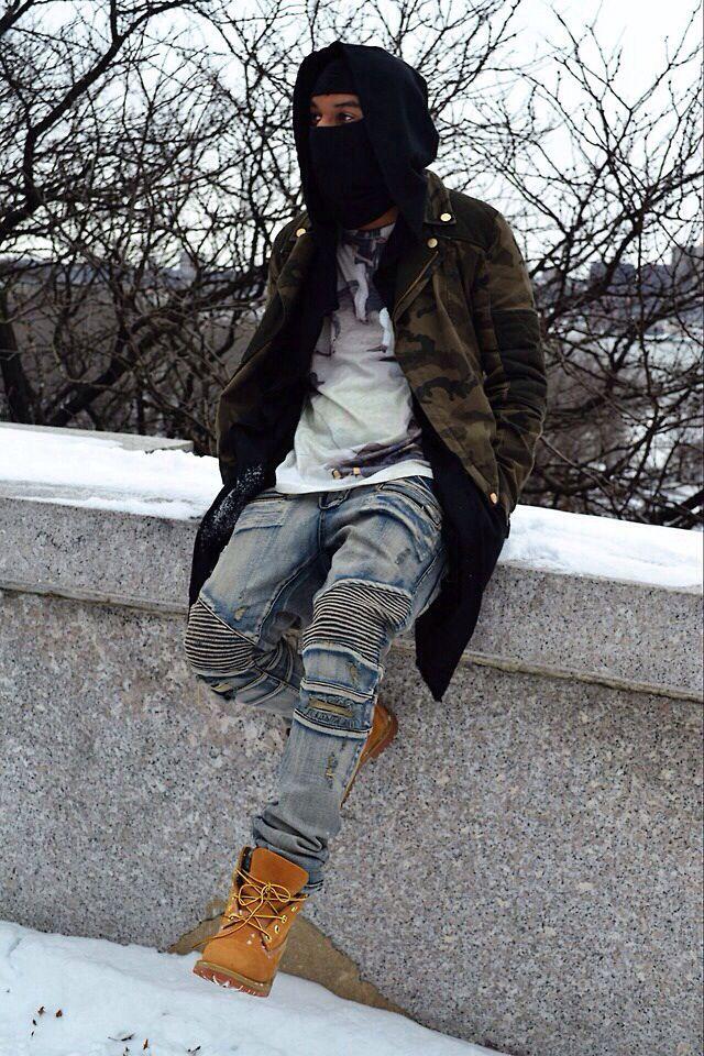 Camo jacket. Balmain jeans. Timberland boots.