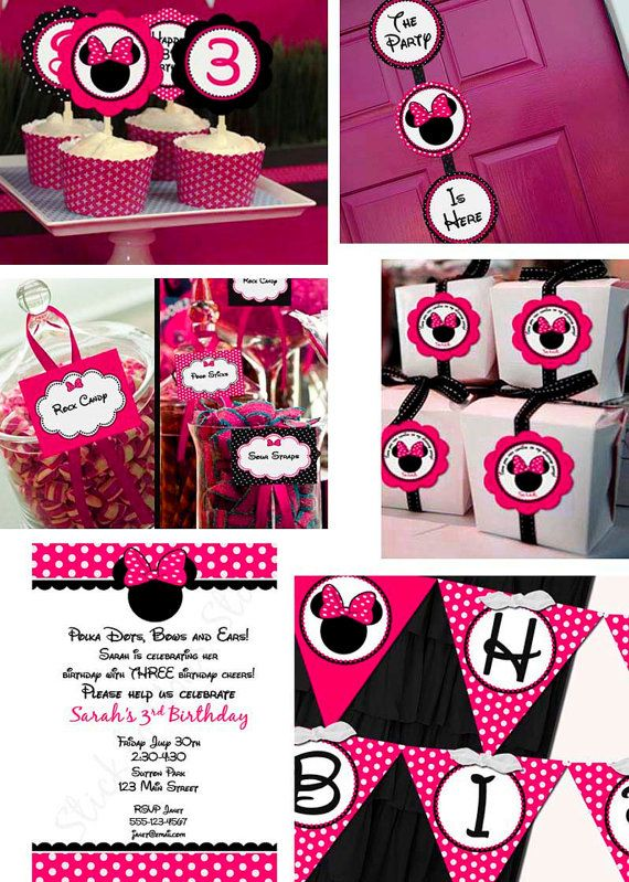 Complete Girl Minnie Mouse Birthday Pink Party Line - Stick to Your Story, $85