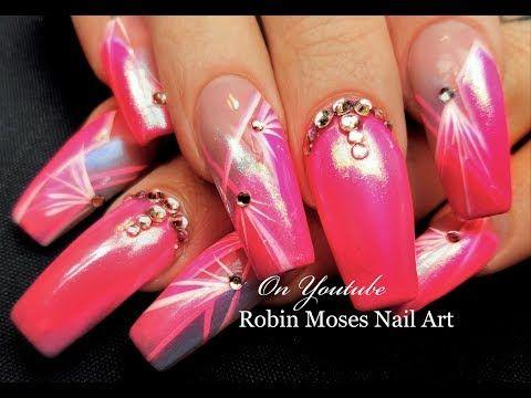Diva Pink Chrome Nails | Striped Starburst Long Nail Art Design Tutorial - YouTube