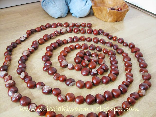 Glue chestnuts together into shapes with wood glue. Zabawa z kasztanami