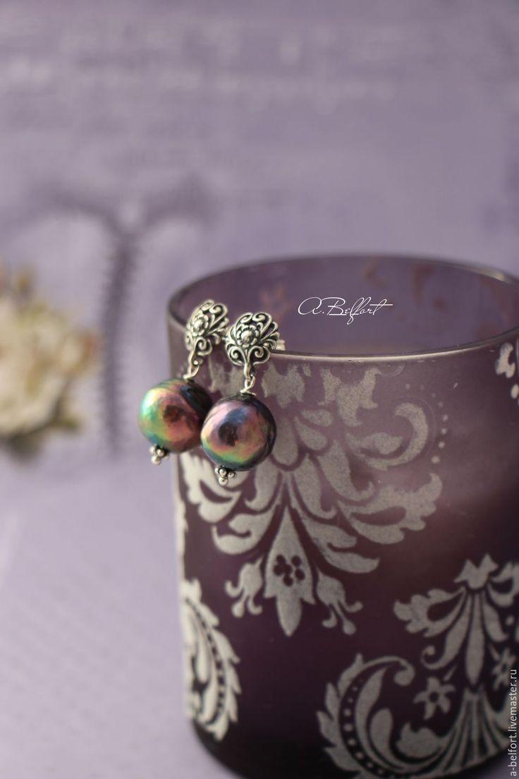 """Купить серебряные серьги """"Фамильная ценность"""" - черный, серебряный, серебристый, фиолетовый, радуга, серьги серебро"""