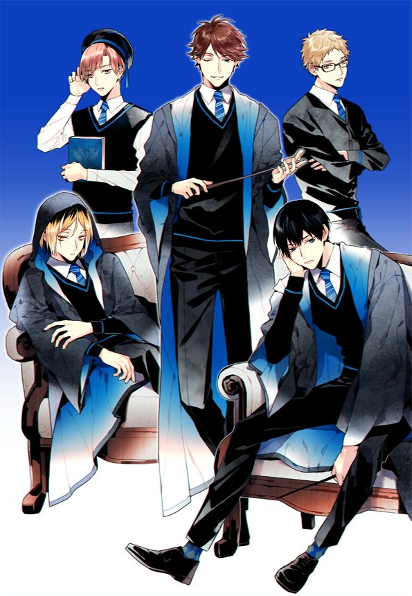 House Ravenclaw: Shirabu, Tsukishima, Kozume, Kageyama, and Oikawa as Head Boy. A house full of setters huh? Haha. And I don't agree with Kags being in Ravenclaw