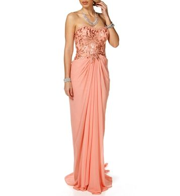 Kiyomi- Blush Lace Chiffon Strapless Dress. From Windsor, $139.90