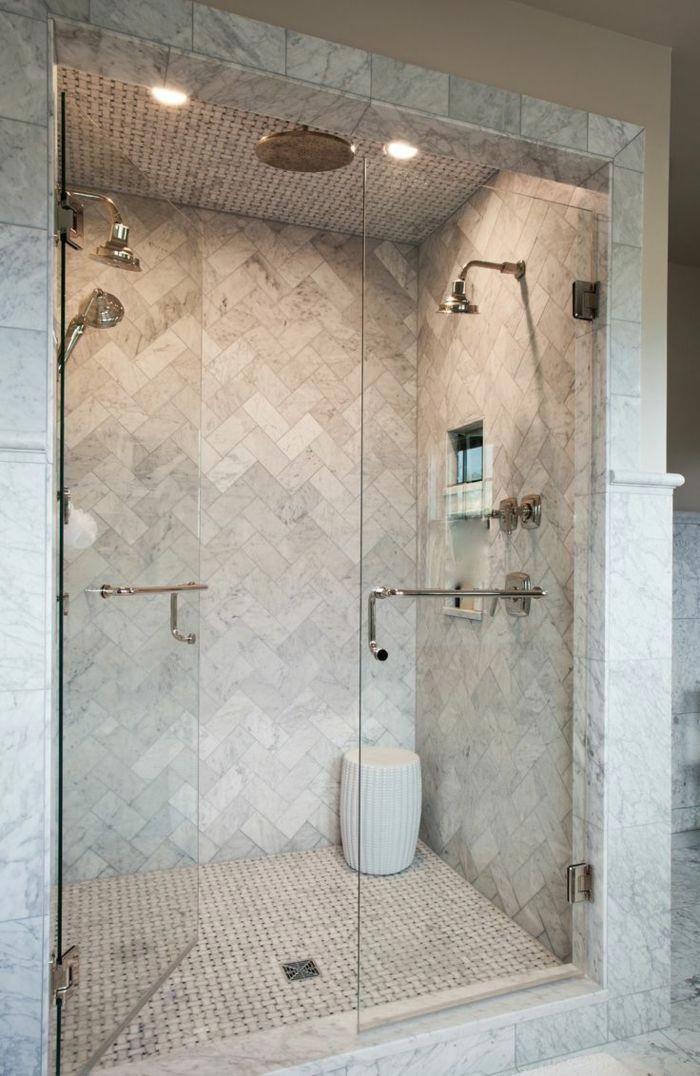 ducha-de-obra-baño-rústico-ducha-doble-puerta-vidrio ...