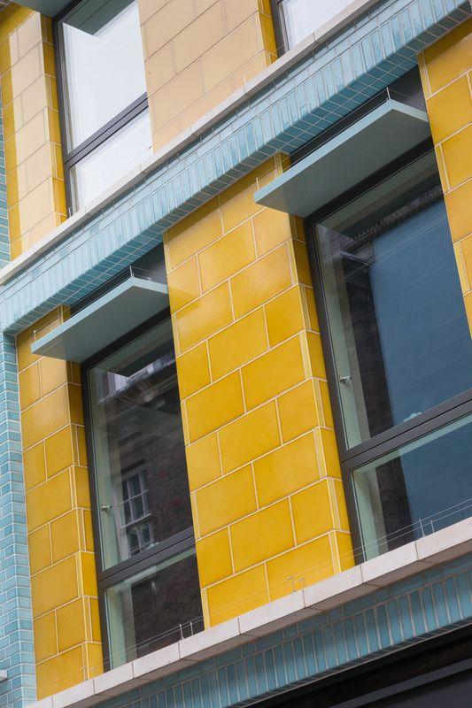 Carnaby Court, London. Glazed lava bricks and cladding by Pyrolave UK.