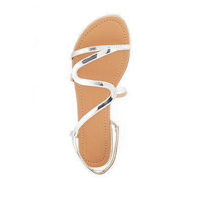 Gray Metallic S-Shape Sandals - Size 10