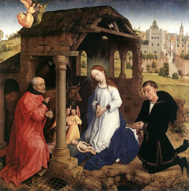 Rogier van der Weyden 1399/1400 – 1464, The Nativity, ca. 1445-48, the central panel of the Bladelin Triptych.