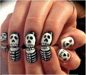 Day of the dead nail art - wish I could do this on my nails