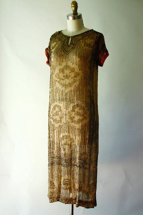 Vintage 20s Flapper Deco Beaded Camel Silk by FashionHouseVintage