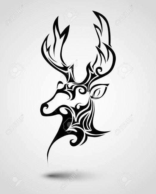 Simple stag head tattoo