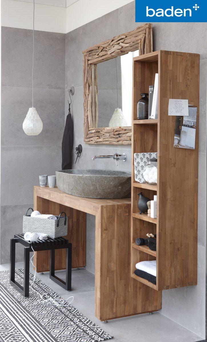Een badkamermeubel van echt teakhout. Het geeft de badkamer een warme uitstraling!