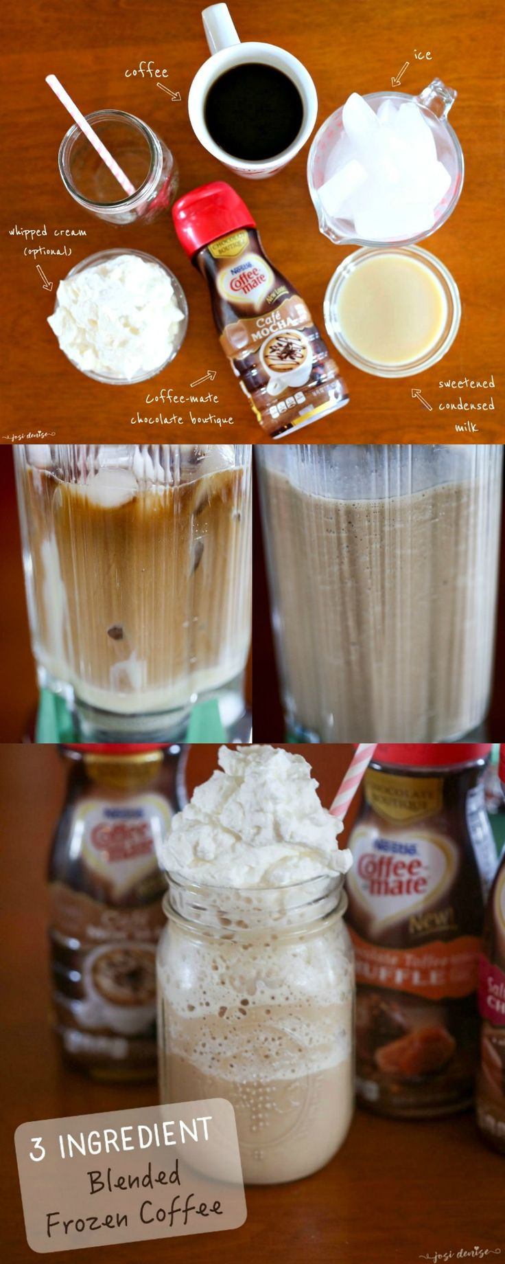 Frozen blended coffee recipe using Chocolate Boutique from Coffee-mate, perfect premium iced coffee just like chocolate dessert, to sip during summer or on the go. Copycat mocha frappucino recipe with (Chocolate Milkshake Ninja)