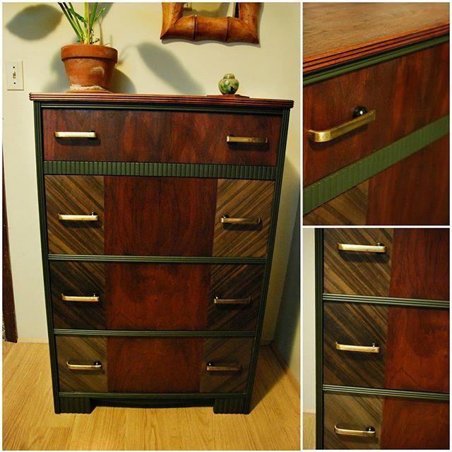 Art Decoish Multi-Stain Dresser - Sold.  #dresser #artdeco #furniture