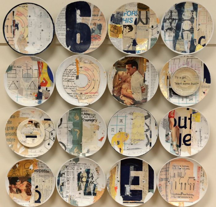 Jane Maxwell | 'Sixteen Plates', collage and mixed media on plates