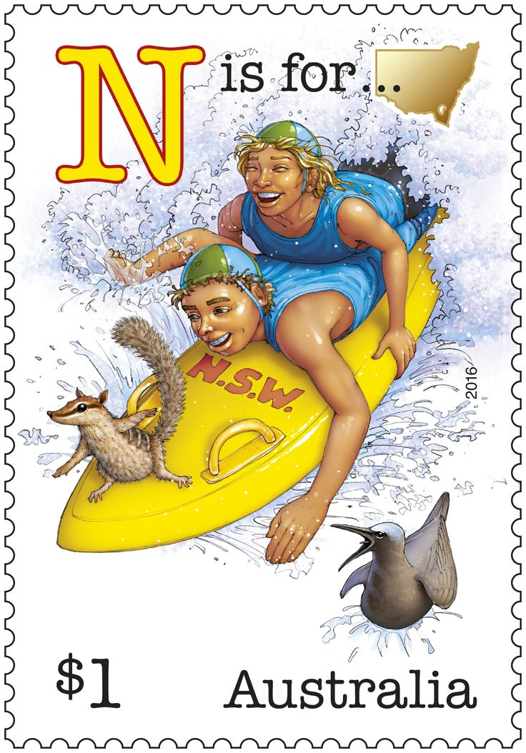 This stamp issue is part one of a series featuring an old-fashioned Aussie alphabet of humorous scenes. It begins with the letters representing five of our states. Buy in-store or online: http://auspo.st/1RBhNrs #StampCollecting