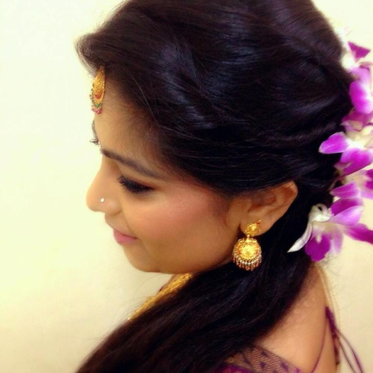 Indian Bridal Reception Hairstyle With Flowers Indian