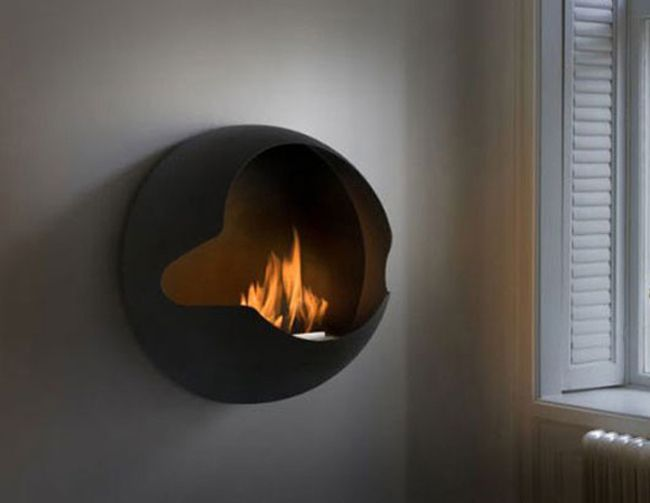 Permanent Link to : Interior with Wall Coupla Spherical Fireplace from Vauini