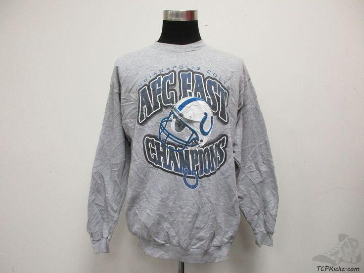 Vtg 90s Logo Athletic Indianapolis Colts AFC EAST Crewneck Sweatshirt sz L Large #LogoAthletic #IndianapolisColts