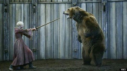 Brienne fighting in the bear pit
