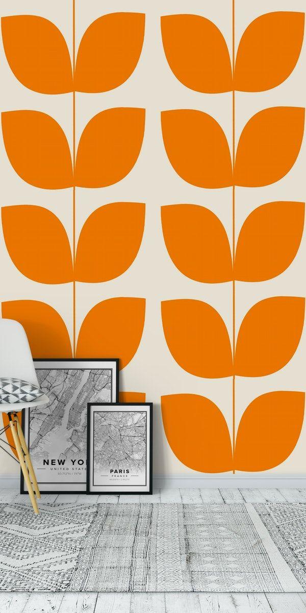 Mid Century Leaves Orange Wallpaper In 2020 Wall Murals Orange Wallpaper Mid Century Modern Wallpaper