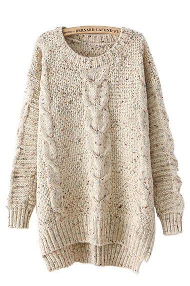 High Low Hem O-neck Long Sleeves Loose Sweater