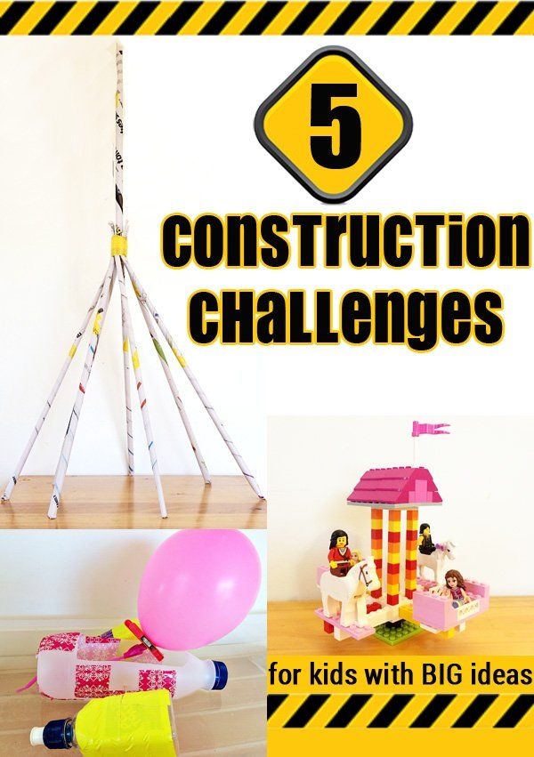 5 Construction Challenges for Kids. These challenges develop so many fabulous learning skills and can be adapted for children of all ages - early primary/elementary through to early secondary school.