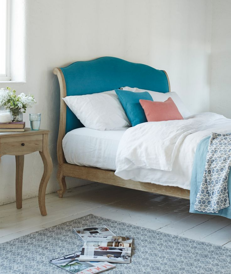 Loaf's French inspired Coco bed with a comfy blue linen headboard in this master bedroom shot