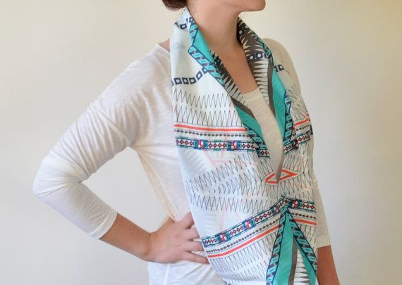Patterned With Chevron Infinity Scarf, Geometric Shapes ,Mint Scarf, Cotton Fabric, Women on Etsy, $27.00