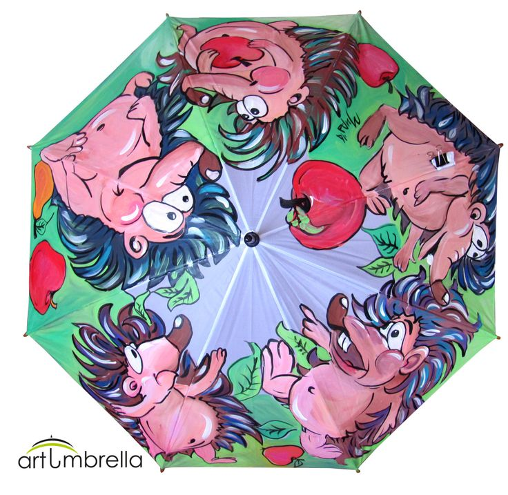 Original Hand Painted colorful Umbrella with Hedgehogs by Artumbrella on Etsy