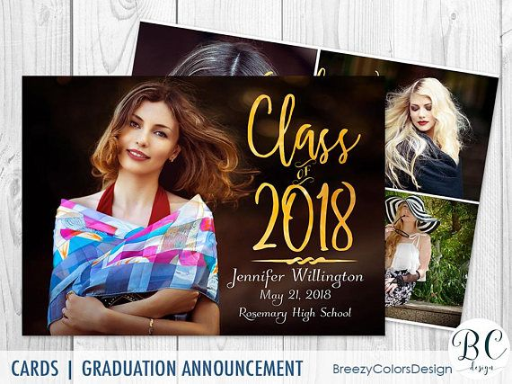Summer Graduation Announcement, Invitation Template, Class of 2018, College Graduation Cards, Photography Marketing, Photoshop Overlay PSD