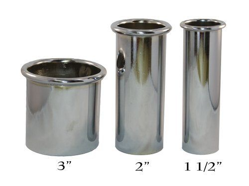 """Pibbs 1502C Chromed 2"""" Dia Curling Iron Holder by Pibbs. $10.00. 2"""" dia curling iron holder (1.5"""" pictured on left sold seperately. Open Bottom. Fits into your styling station or counter top. Chromed. Pibbs Heavy Duty Chromed Iron Holders 1502C 2"""" Diameter  (Larger one pictured)  See also 1502B 1.5"""" (small picture) & 1502A 3"""" Dryer Holder"""