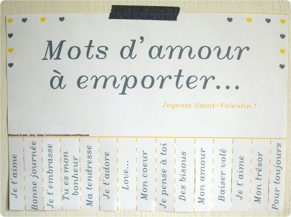 French mots d'amour (words of love) for the taking. Perfect way for Lora Weaver to learn about love the French way;)