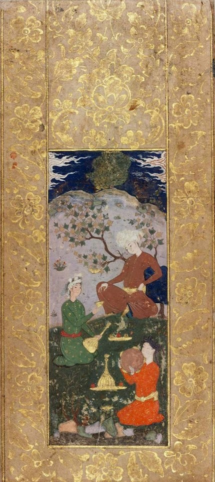 Persian, Safavid period, late 16th century  Iran,  4.5 x 11.4 cm,  Paper; painting  Prince seated under a tree, and attendant offering him a cup and a musician with tambourine. Sky dark blue with white clouds. Rocks lavender. The dresses are brown, dull green and red. Gold arabesque mount.  A Prince and his Servants