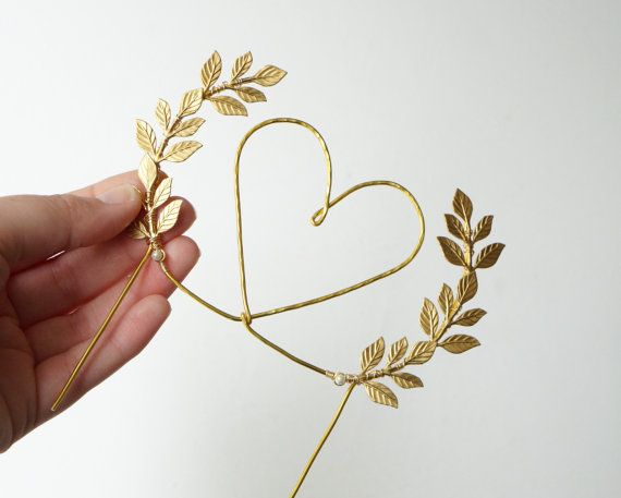 Gold heart wedding cake topper Heart and leaves cake by Lietofiore