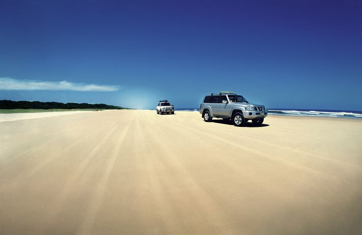 Driving along 75 Mile Beach, Fraser Island