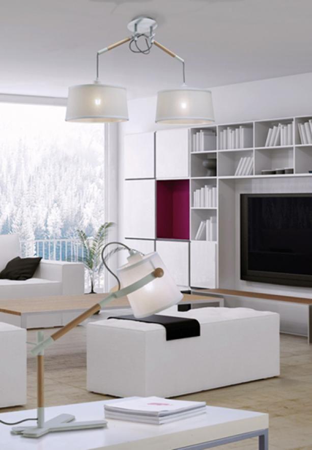 Klasyczna regulowana lampka biurkowa drewniana w skandynawskim stylu