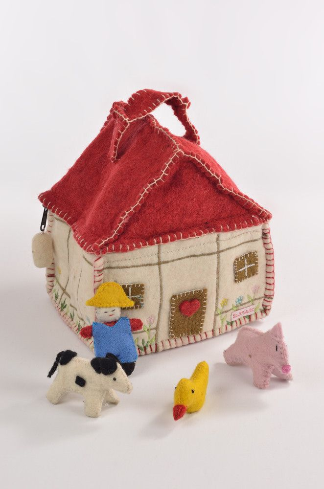 Farmer with house and animals