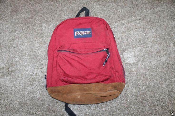 Vintage JANSPORT Backpack Bookbag Suede Leather Bottom Deep Red ...