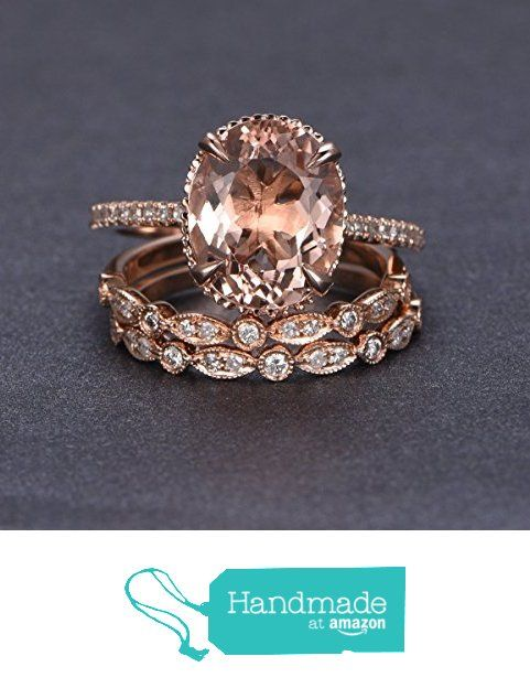 Oval Morganite Engagement 3 Ring Bridal Set Pave Diamond Wedding 14K Rose Gold 10x12mm from the Lord of Gem Rings http://www.amazon.com/dp/B01GSF38RW/ref=hnd_sw_r_pi_dp_3slwxb1KP4K1X #handmadeatamazon