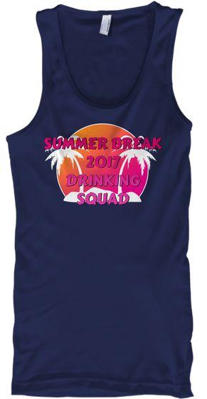 Summer Break 2017 Drinking Squad Navy T-Shirt Front