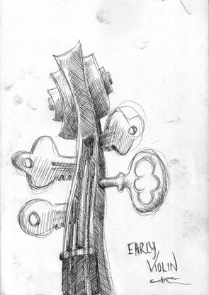 EARLY VIOLIN BY: CHRIS KELLY 21CM X 30CM X 0CM $150  Sketched in pen, digitally enhanced in Photoshop  This is a limited edition of 5 digital prints  Each print will be numbered out of /5 and signed by the artist.