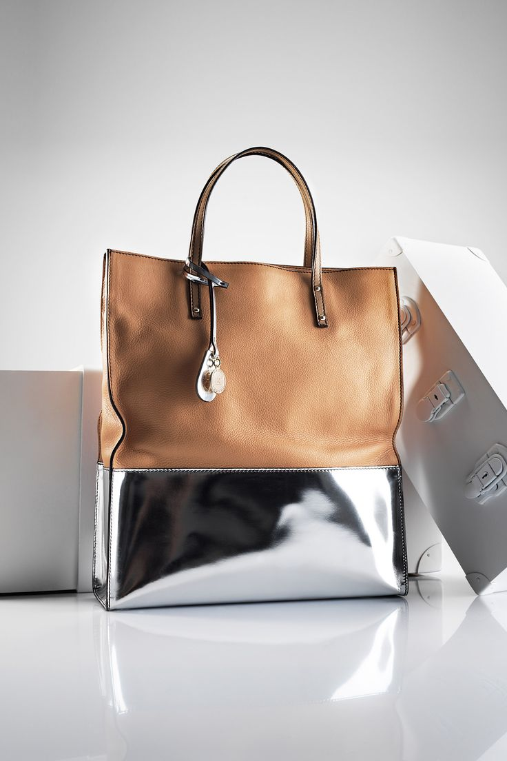 Escada ~ Camel Leather + Silver Metallic Tote