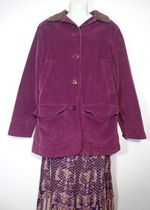 Plum Wine Rustic Corduroy Mid Length Duster Coat Jacket, Button Up Coat Size Small