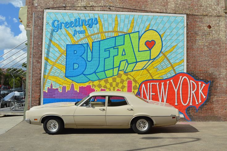 1970 Mercury Montego Greetings from Buffalo sign