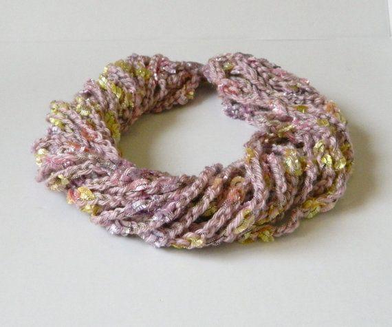 Statement textile scarf necklcace lilac yarn necklace by craftysou, $30.00
