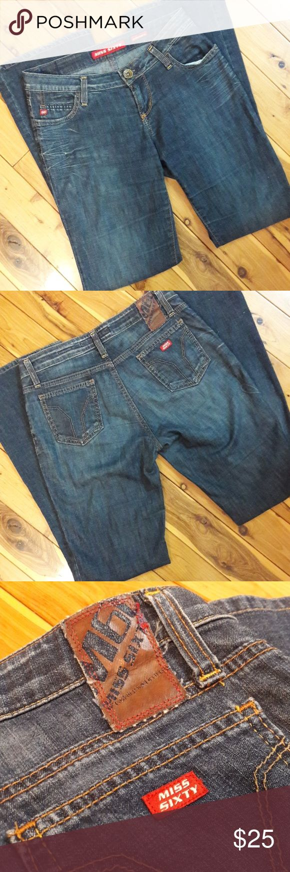 """Miss Sixty Extra Low Bootcut Jeans, Size 28 So soft! These are a cotton blend, made in Italy. Gently used with some minor wear below the right pocket.   Measurements: Waist: 14"""" Hips: 17.5"""" Rise: 7.5"""" Length: 38"""" Inseam: 30""""  Please message me with any questions. Thank you. Miss Sixty Jeans Boot Cut"""