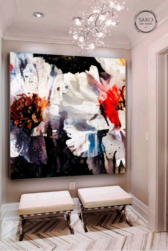 White Flowers Painting Black White Extra Large Wall Art Large