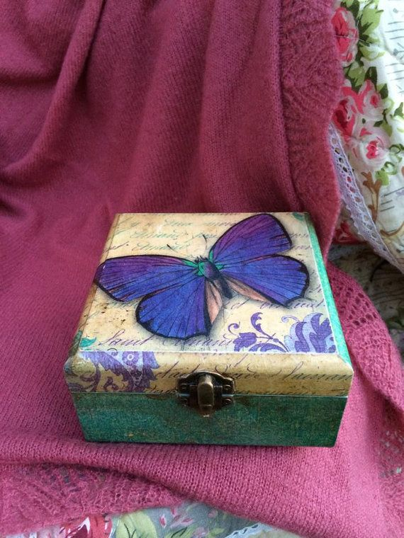 Wooden Decoupage Box Shabby chic Box  Romantic Box Butterfly  Turquoise Jewelry Box Handmade  Art  Decoration