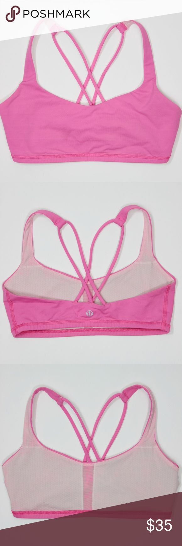 """Lululemon Free To Be Bra Pink Strappy Top Yoga Bra Lululemon Women's Top Free To Be Bra Pink Strappy Workout Run Yoga Sports Bra Hot Pink Size: 6  Pit to Pit: 13.5""""  Condition: Good, has color bleed in the interior lining, but does not affect the integrity of the garment! Comes from a pet and smoke free environment!  Care: Machine Wash WT: 0.05 SKU: 574; 2 Measurements are approximate and taken flat. lululemon athletica Tops"""
