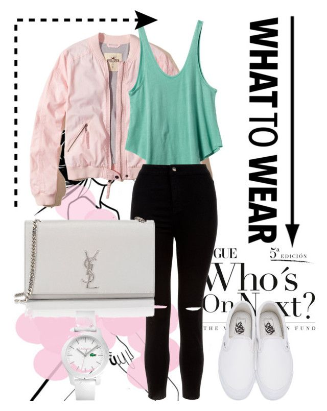 """Party#5"" by tanttu-haapop on Polyvore featuring Hollister Co., RVCA, New Look, Vans, Yves Saint Laurent and Lacoste"